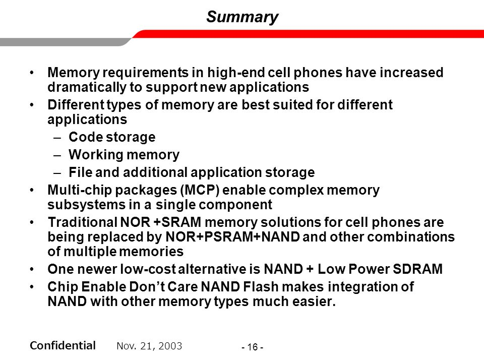 Summary Memory requirements in high-end cell phones have increased dramatically to support new applications.