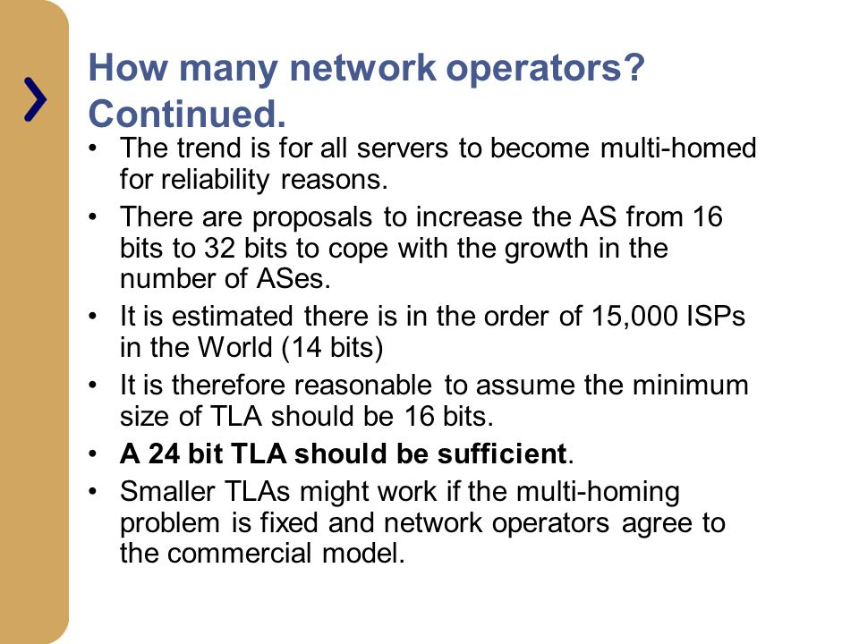How many network operators Continued.