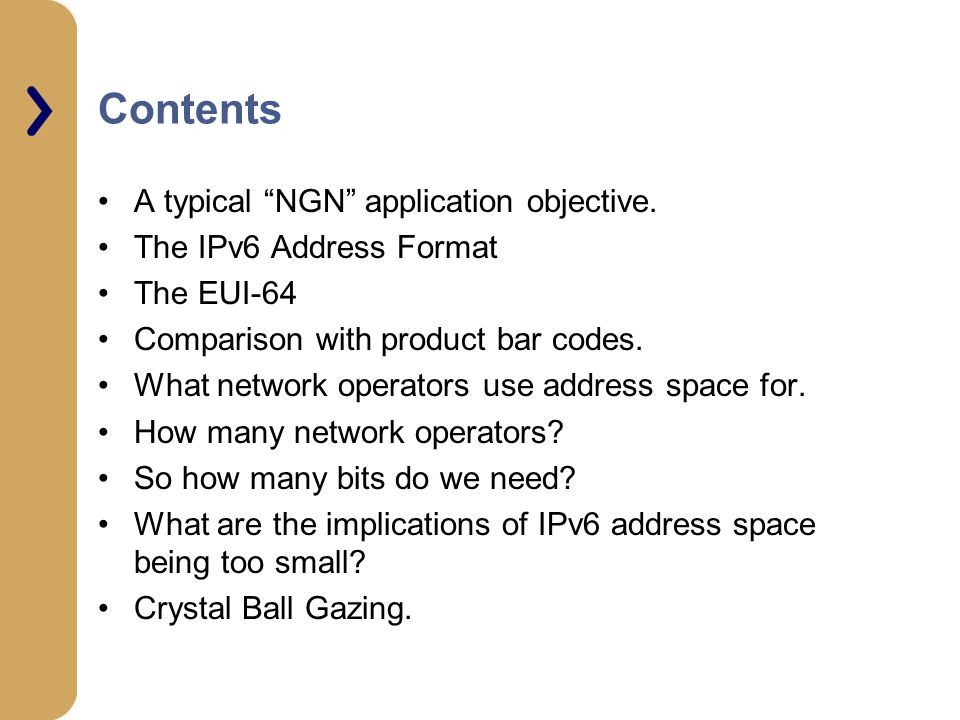 Contents A typical NGN application objective.