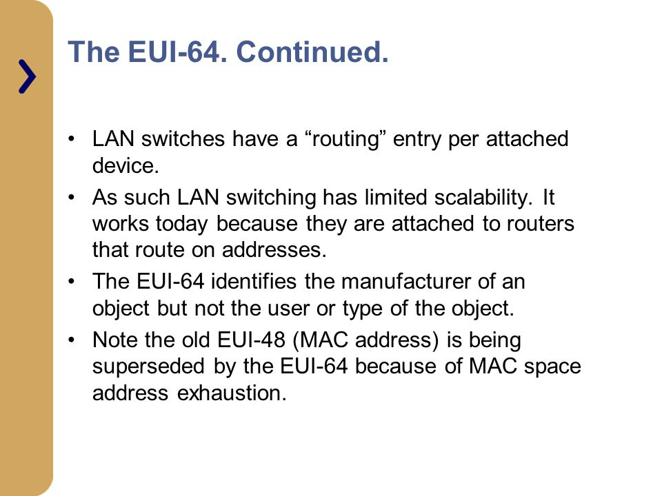 The EUI-64. Continued. LAN switches have a routing entry per attached device.