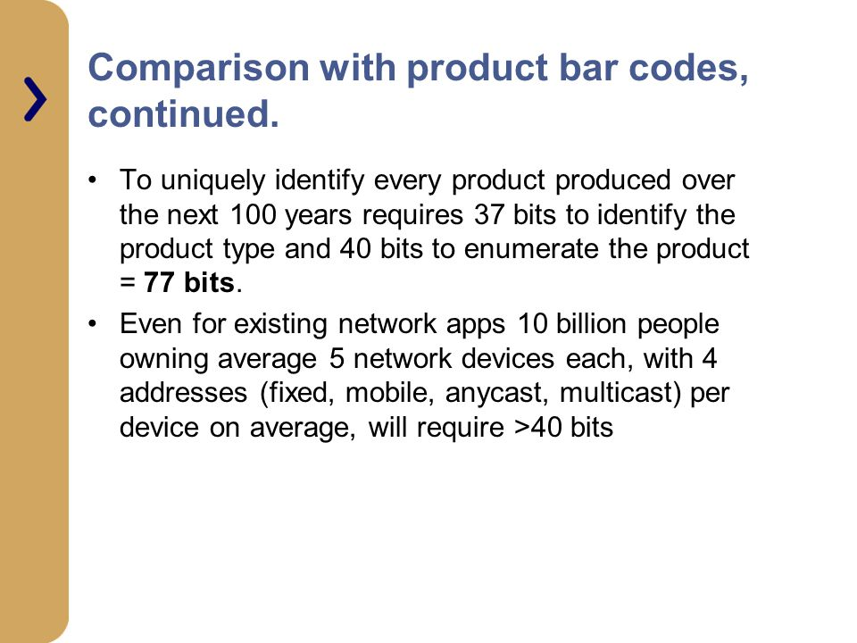 Comparison with product bar codes, continued.