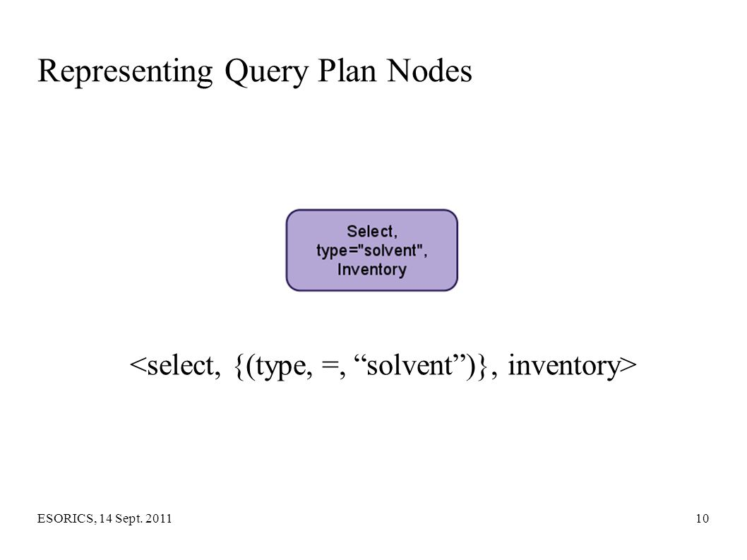 Representing Query Plan Nodes