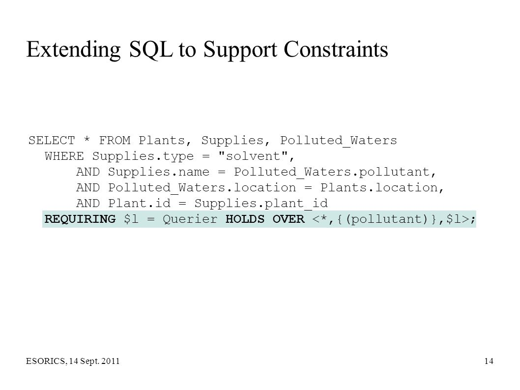Extending SQL to Support Constraints