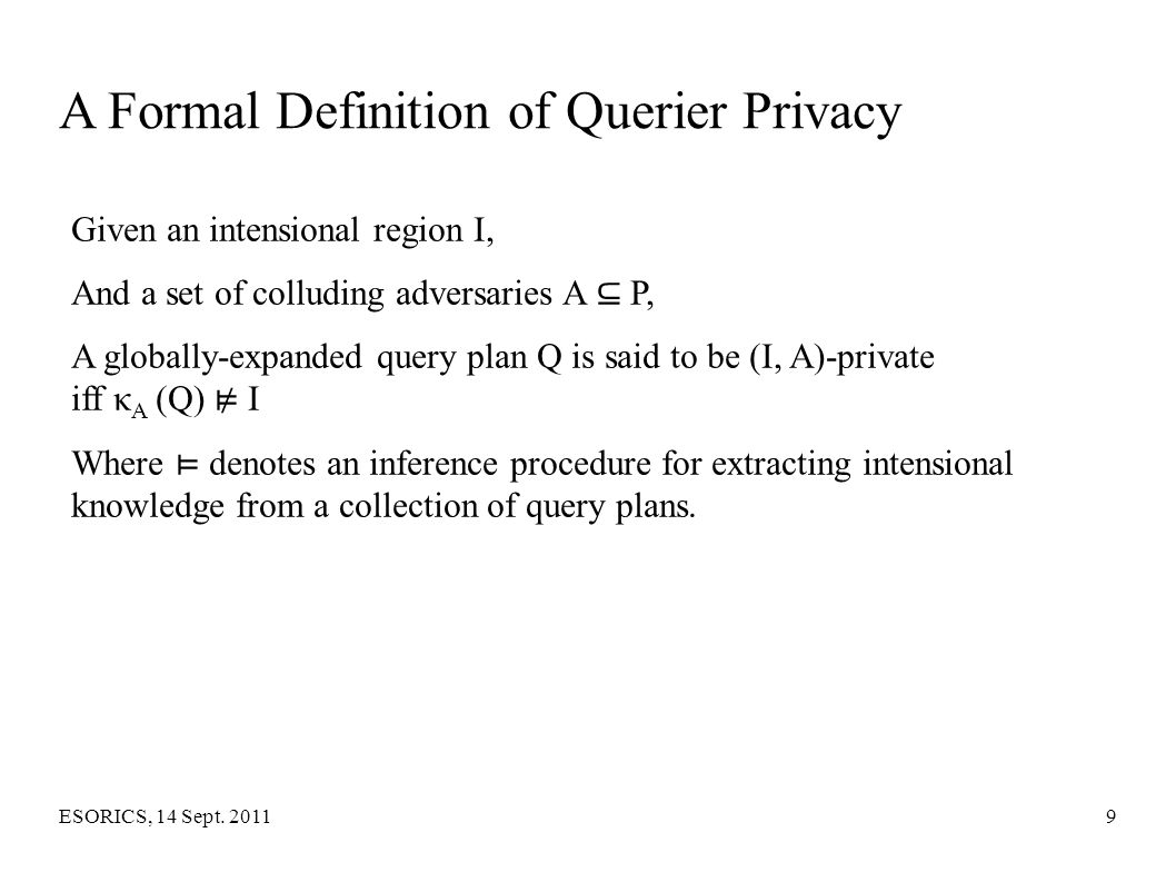 A Formal Definition of Querier Privacy