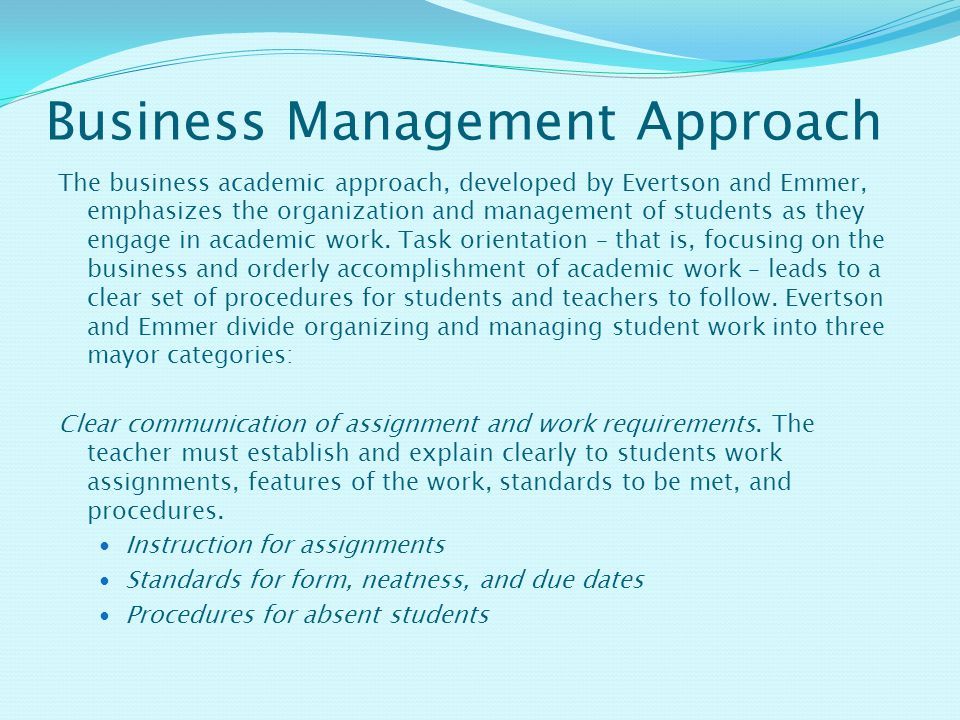 Business Management Approach