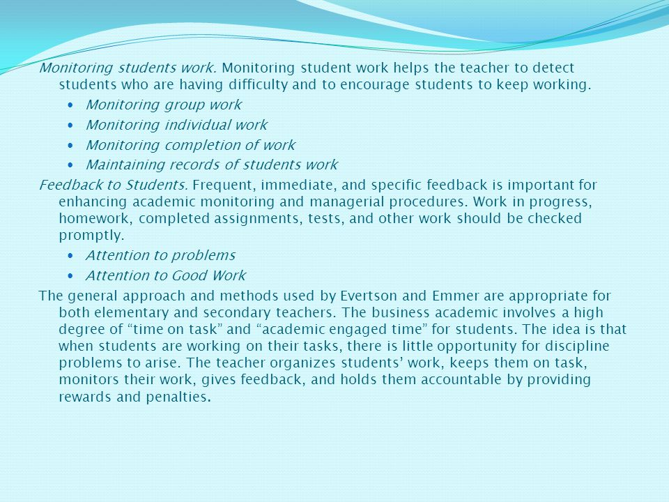 Monitoring students work