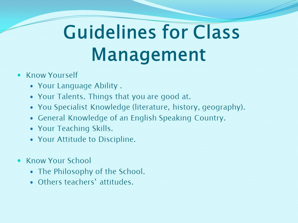 Guidelines for Class Management