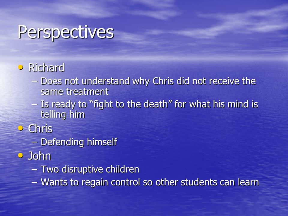 Perspectives Richard Chris John