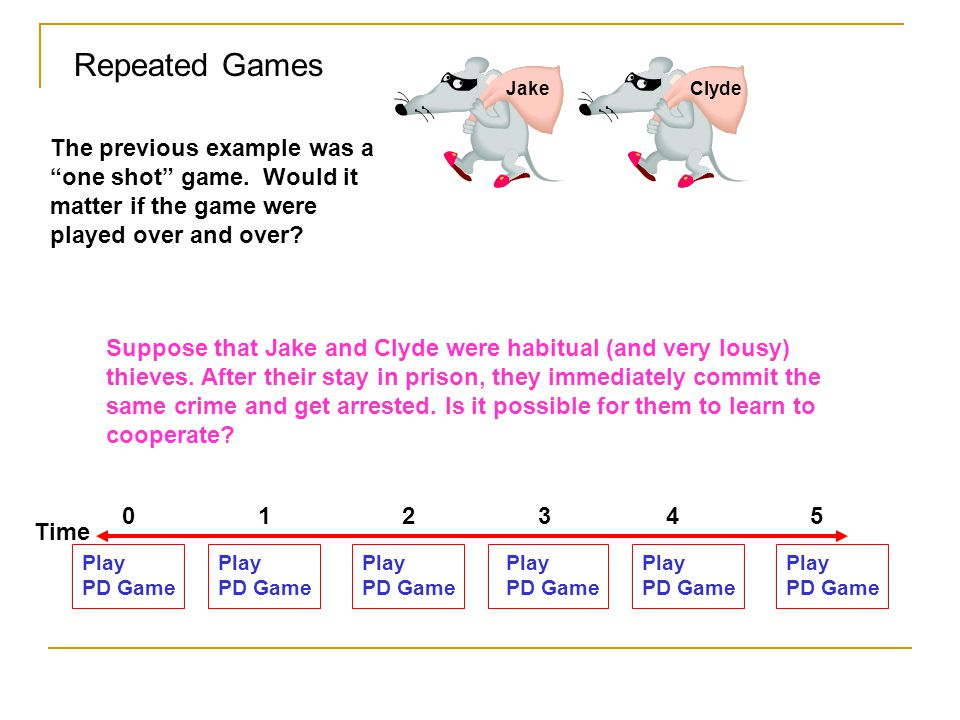 Repeated Games Jake. Clyde. The previous example was a one shot game. Would it matter if the game were played over and over