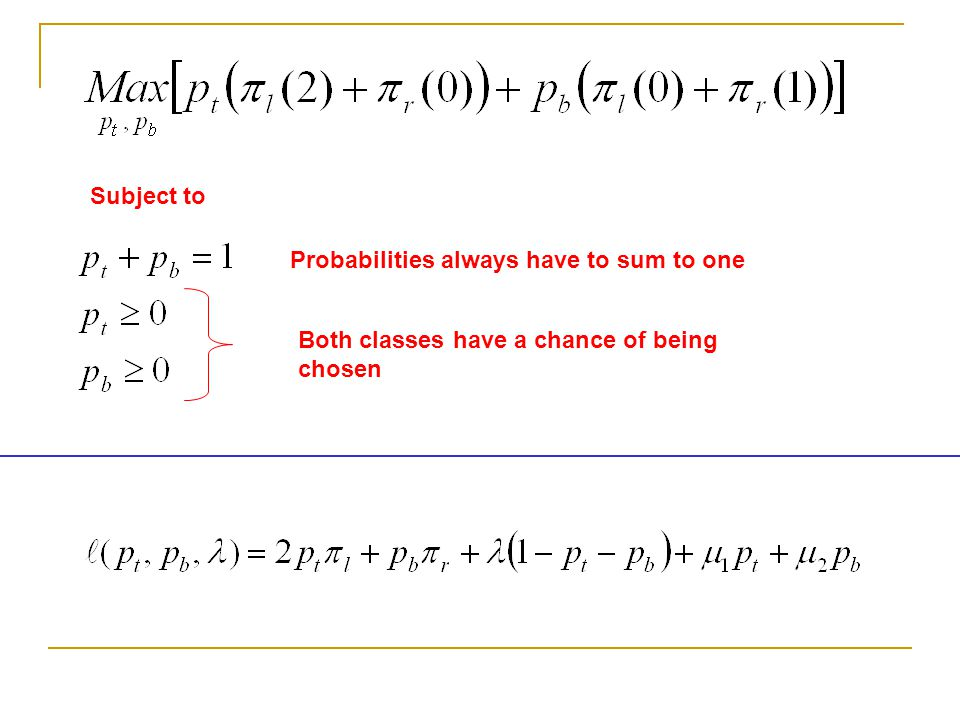 Subject to Probabilities always have to sum to one Both classes have a chance of being chosen