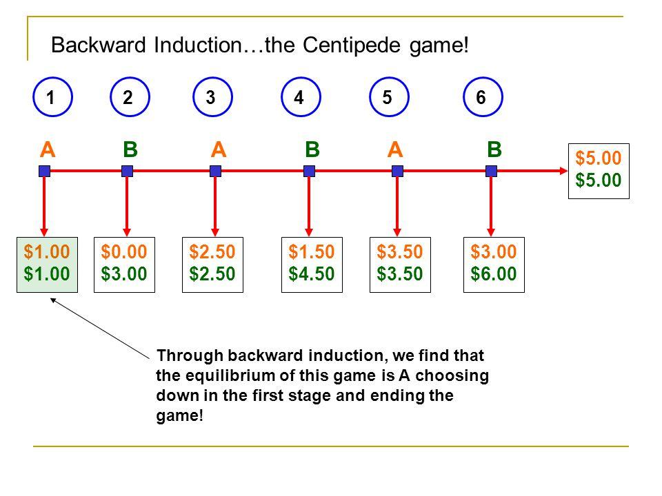 Backward Induction…the Centipede game!