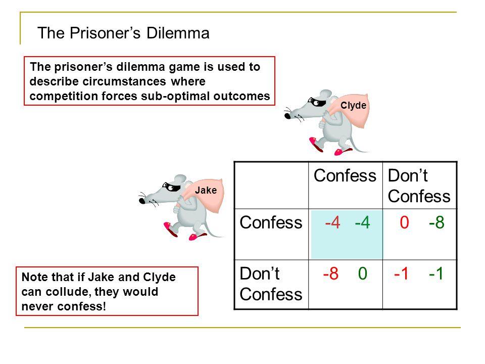 Confess Don't Confess -4 -4 0 -8 -8 0 -1 -1 The Prisoner's Dilemma