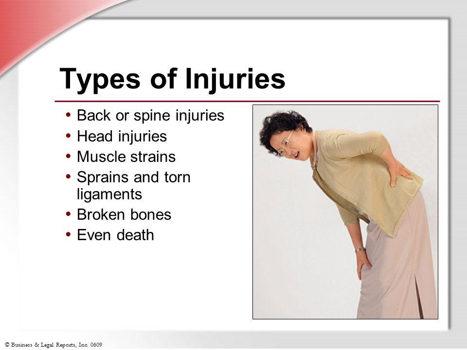 Types of Injuries Back or spine injuries Head injuries Muscle strains