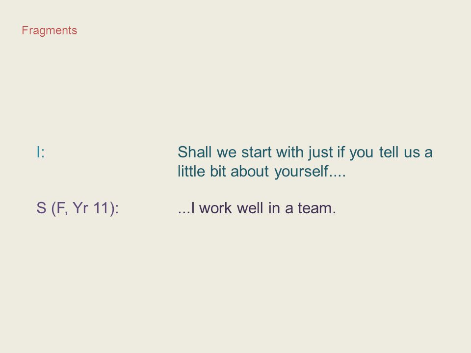 S (F, Yr 11): ...I work well in a team.