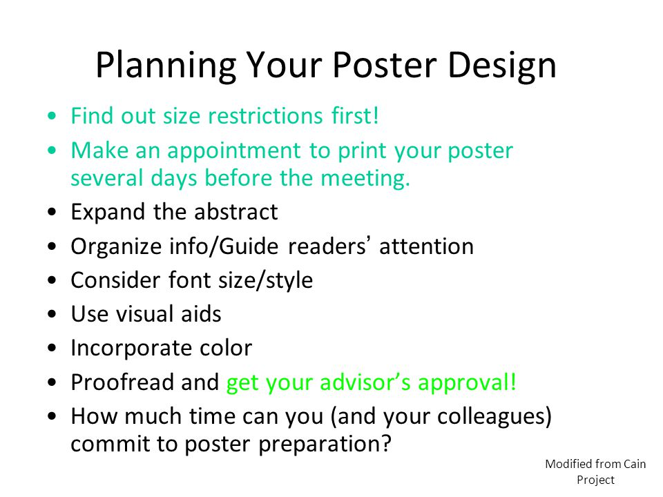 Planning Your Poster Design