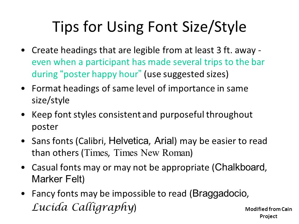 Tips for Using Font Size/Style