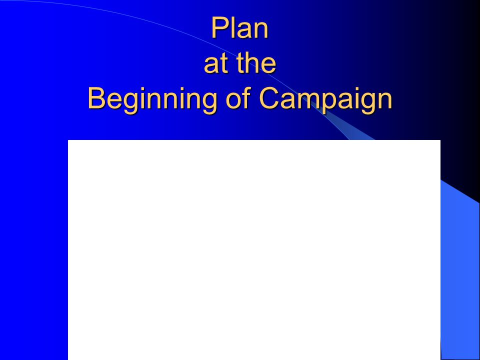 Plan at the Beginning of Campaign