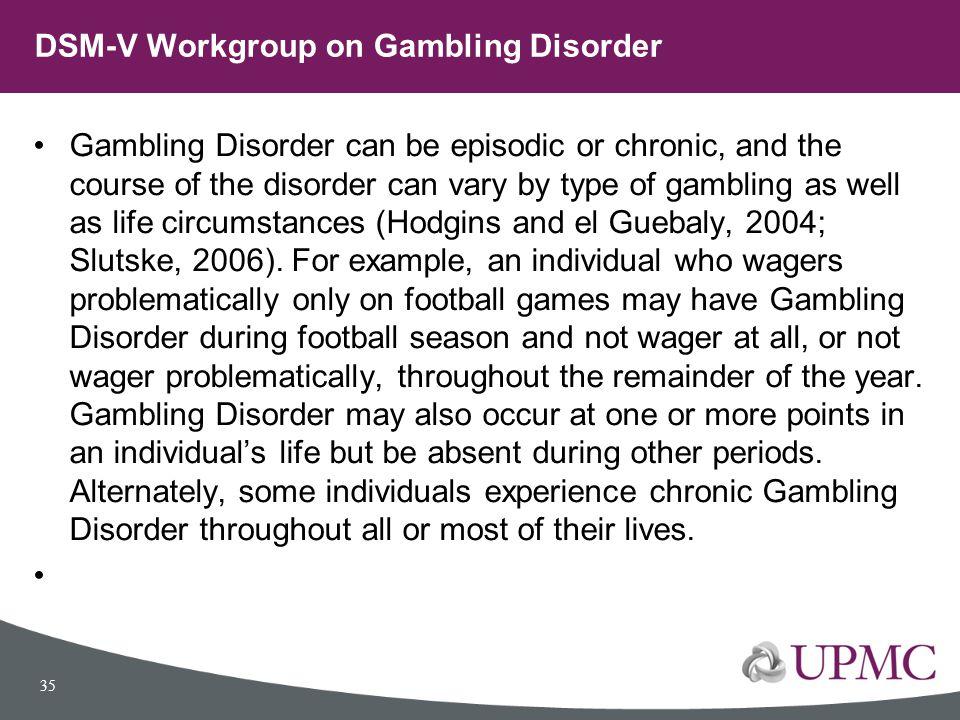 DSM-V Workgroup on Gambling Disorder