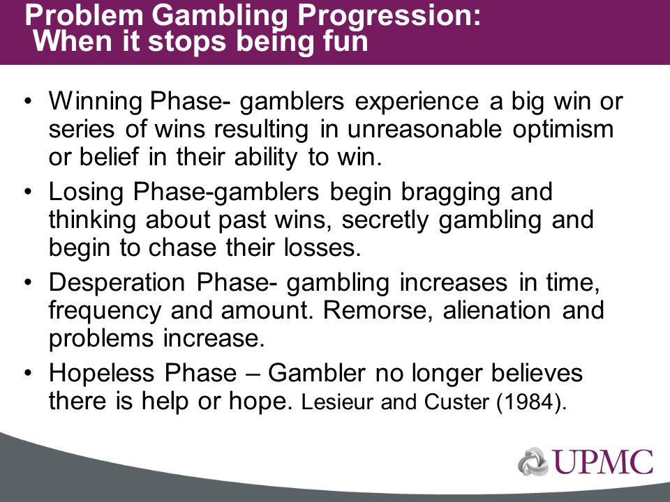 Problem Gambling Progression: When it stops being fun