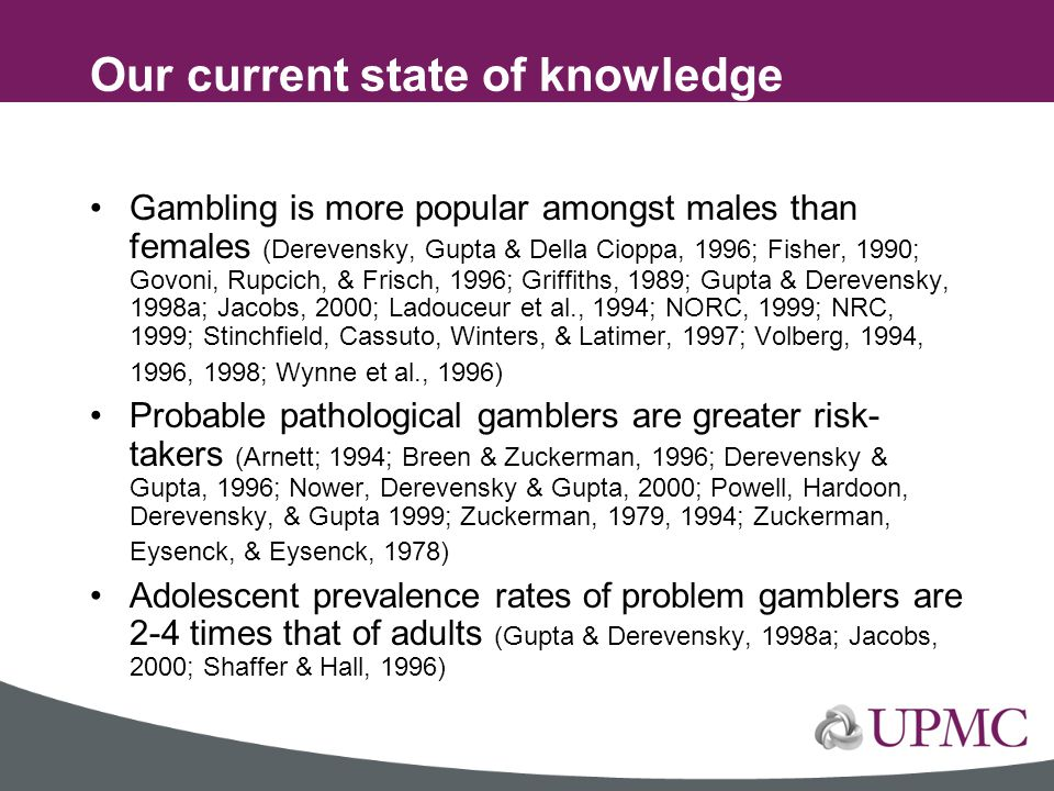 Our current state of knowledge concerning youth gambling problems….
