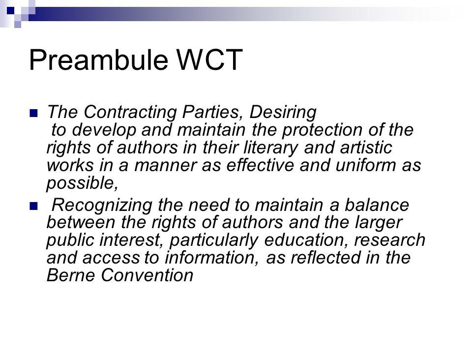 Preambule WCT