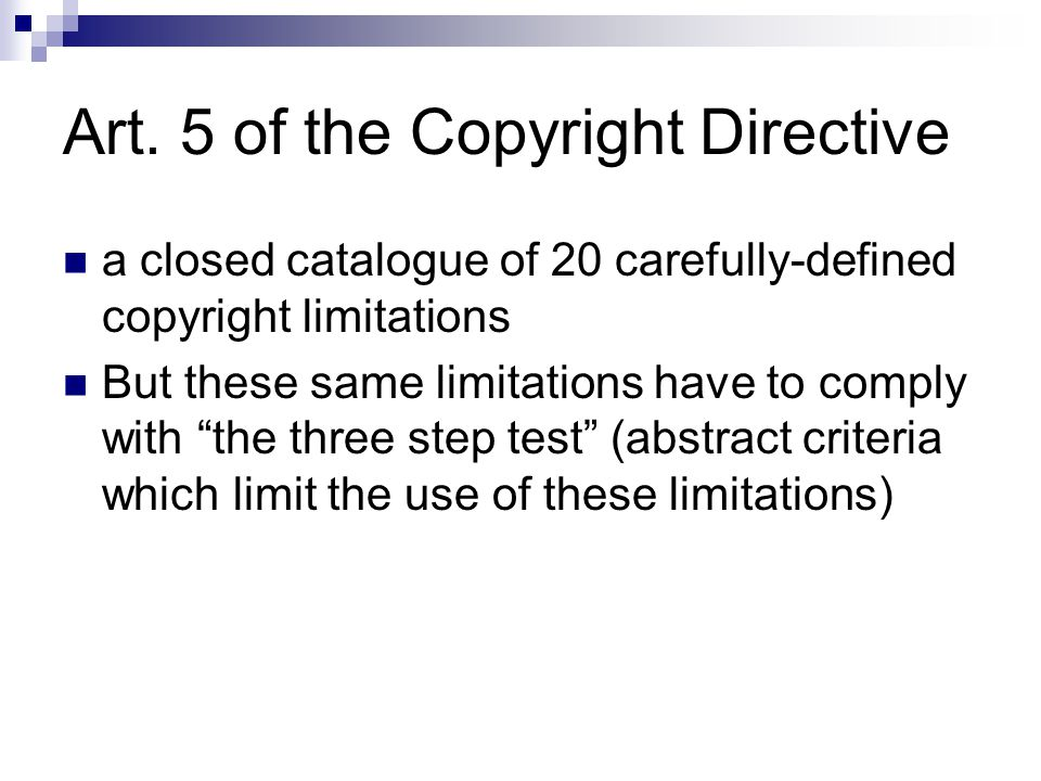 Art. 5 of the Copyright Directive