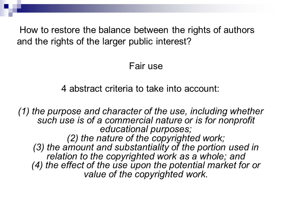 4 abstract criteria to take into account: