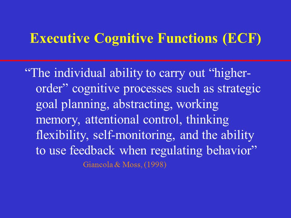 Executive Cognitive Functions (ECF)