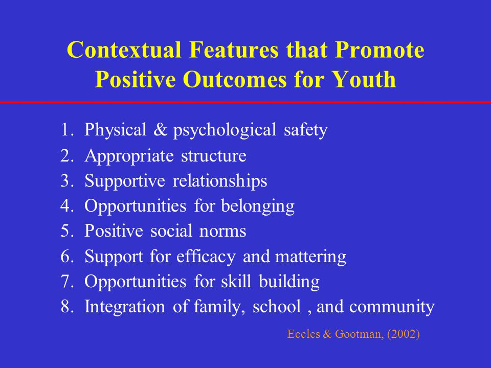 Contextual Features that Promote Positive Outcomes for Youth