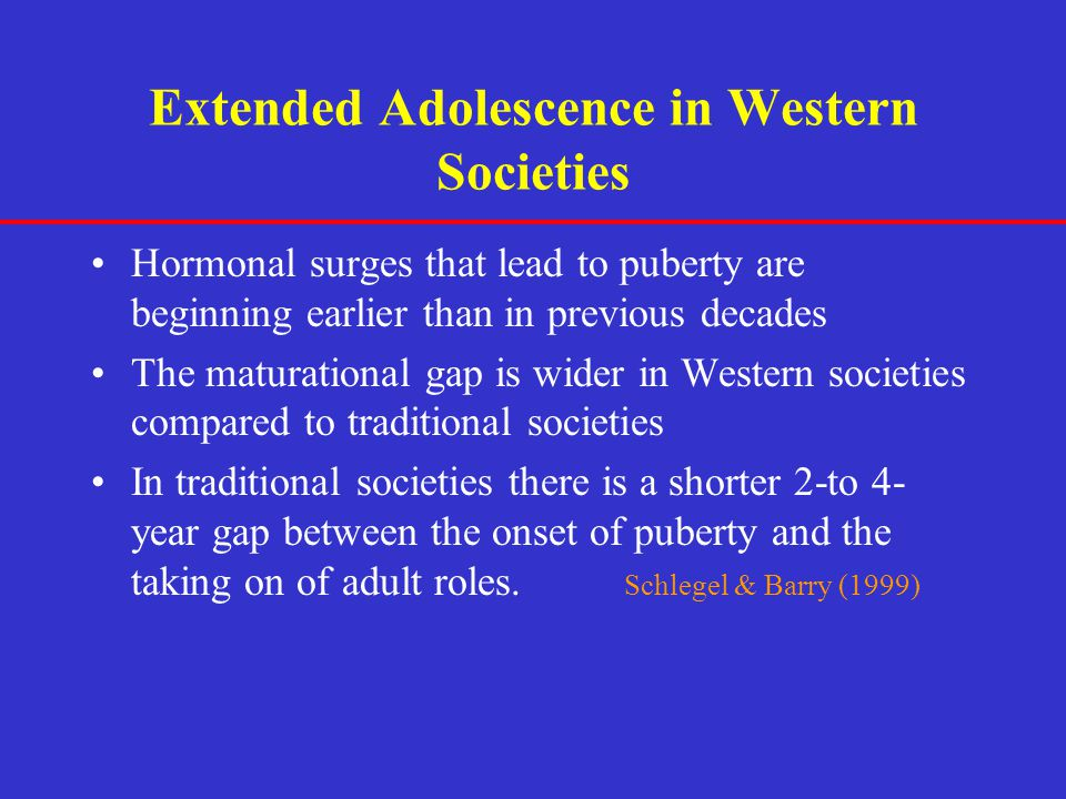 Extended Adolescence in Western Societies