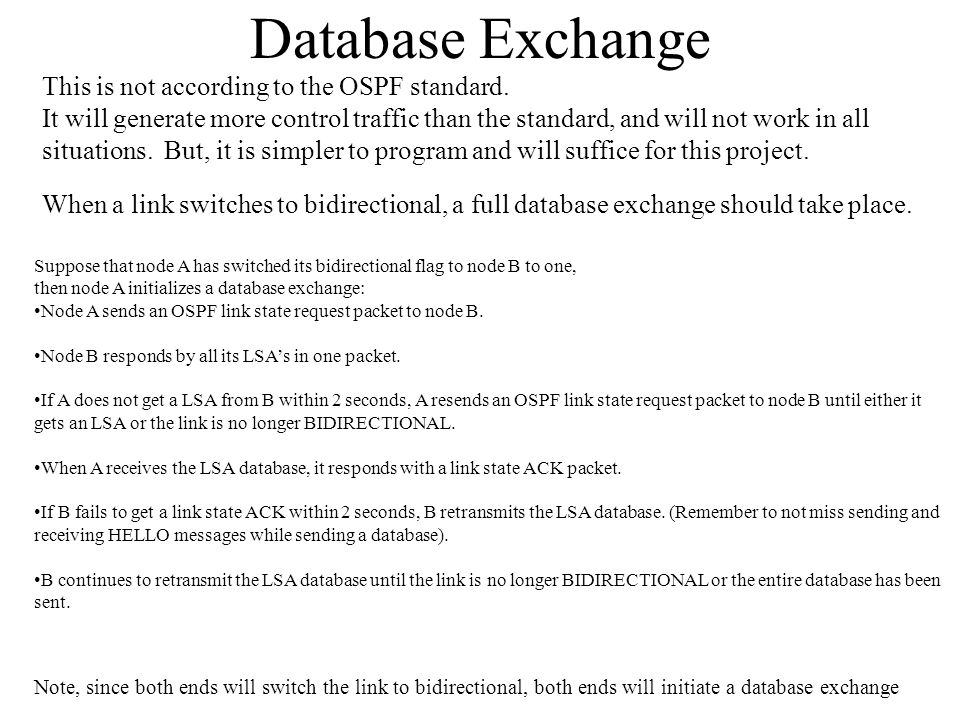 Database Exchange This is not according to the OSPF standard.