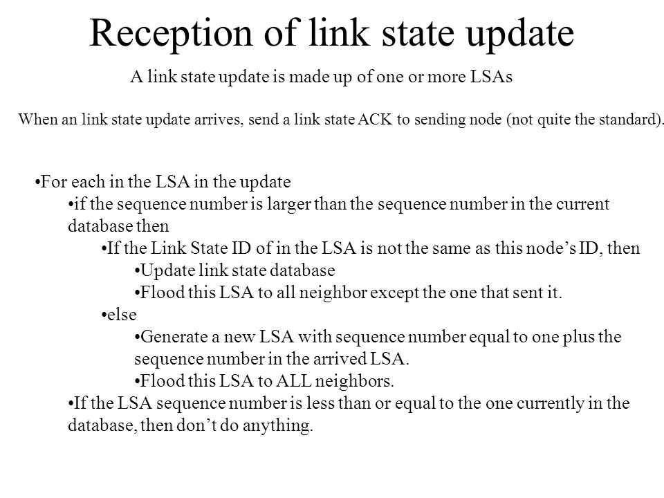 Reception of link state update