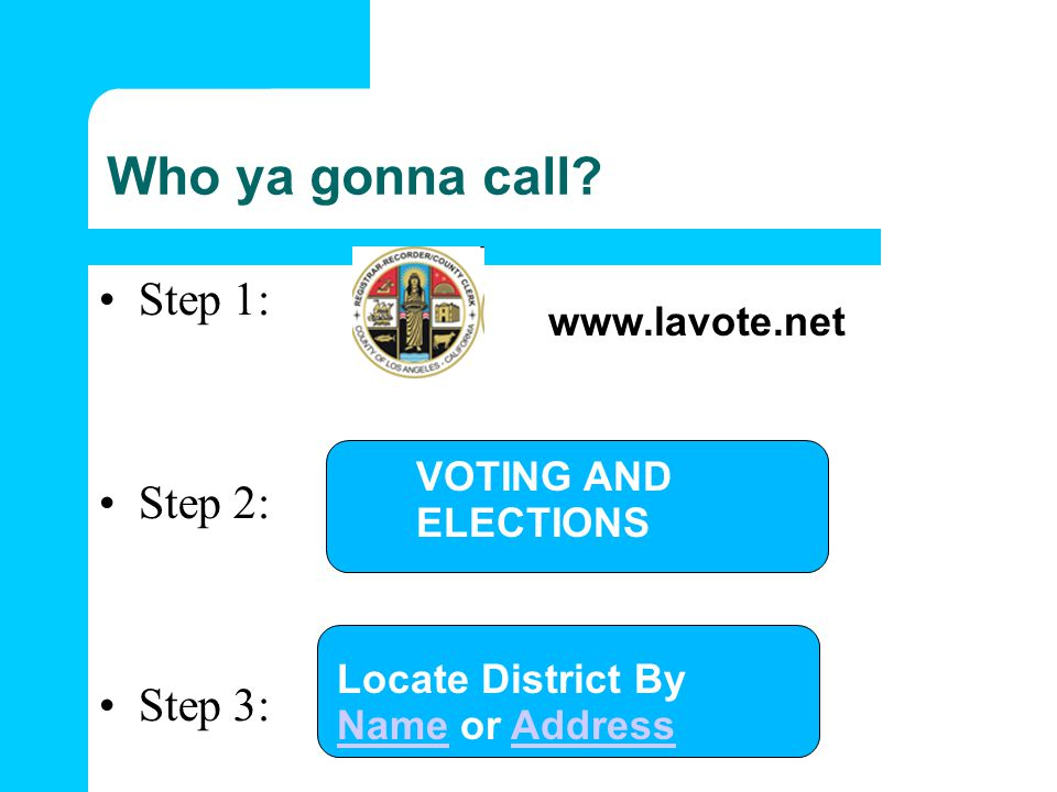 Who ya gonna call Step 1: Step 2: Step 3: www.lavote.net VOTING AND