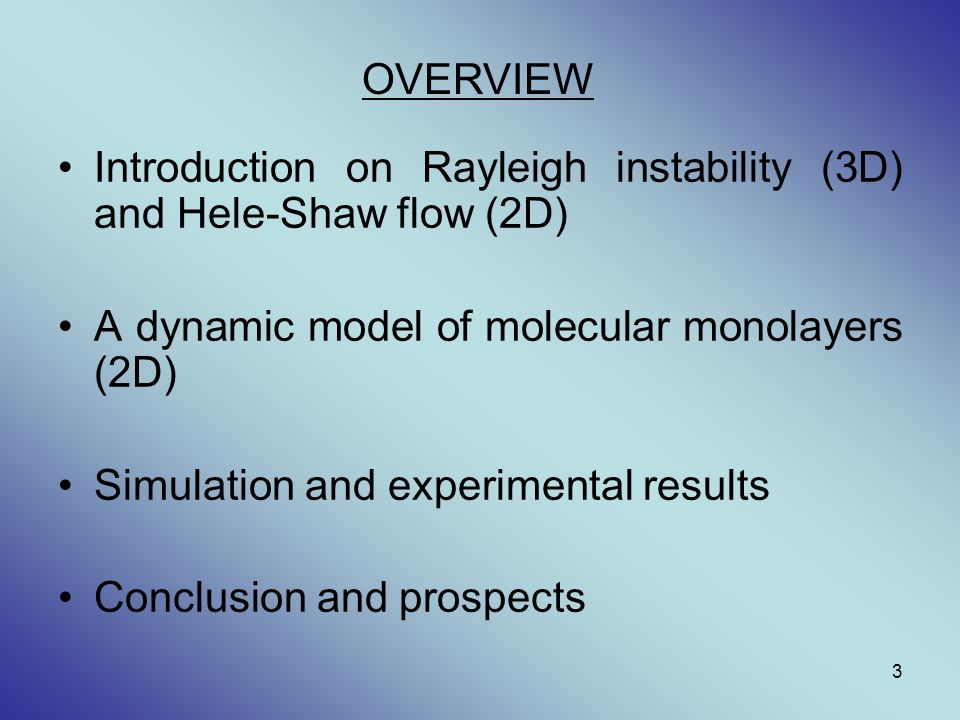 Introduction on Rayleigh instability (3D) and Hele-Shaw flow (2D)