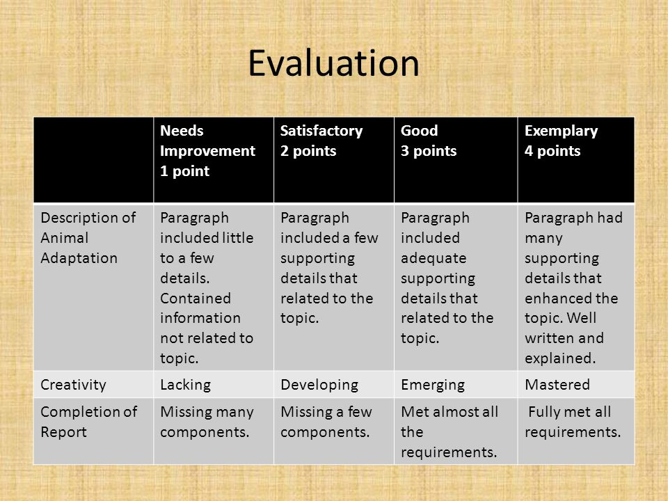Evaluation Needs Improvement 1 point Satisfactory 2 points Good