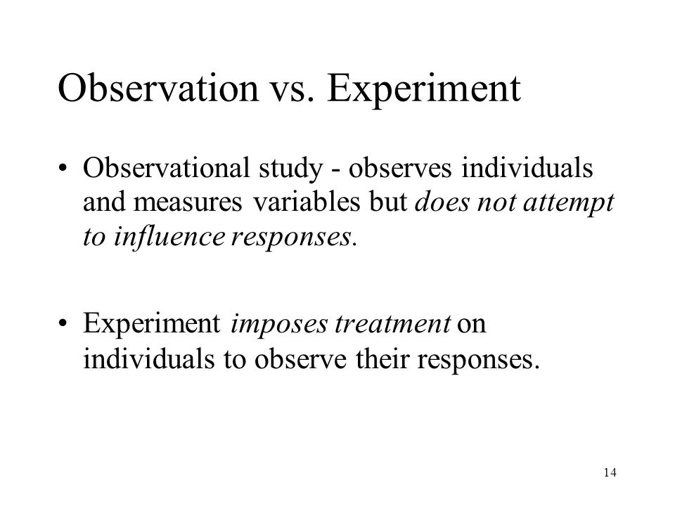 Observation vs. Experiment