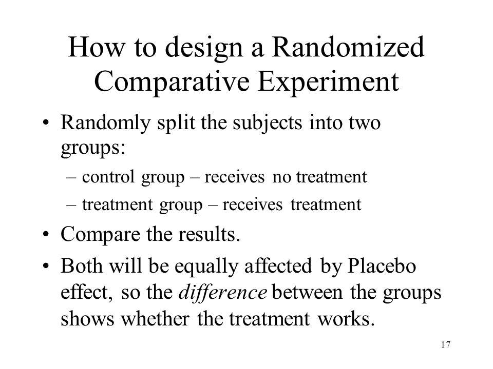 How to design a Randomized Comparative Experiment