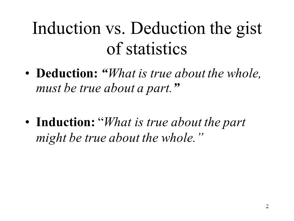 Induction vs. Deduction the gist of statistics