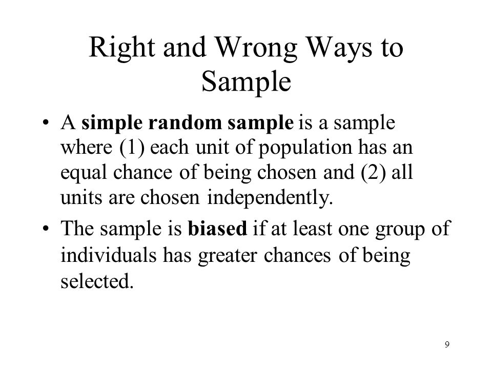 Right and Wrong Ways to Sample