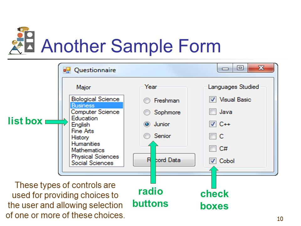 Another Sample Form list box radio buttons check boxes
