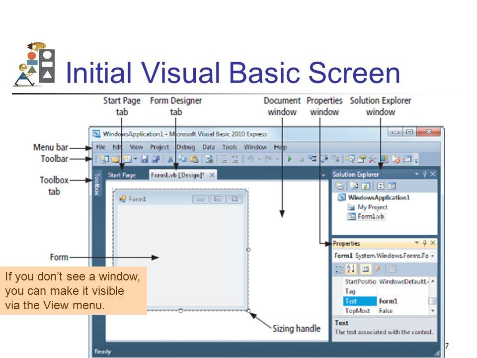 Initial Visual Basic Screen