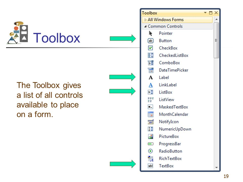 Toolbox The Toolbox gives a list of all controls available to place on a form.