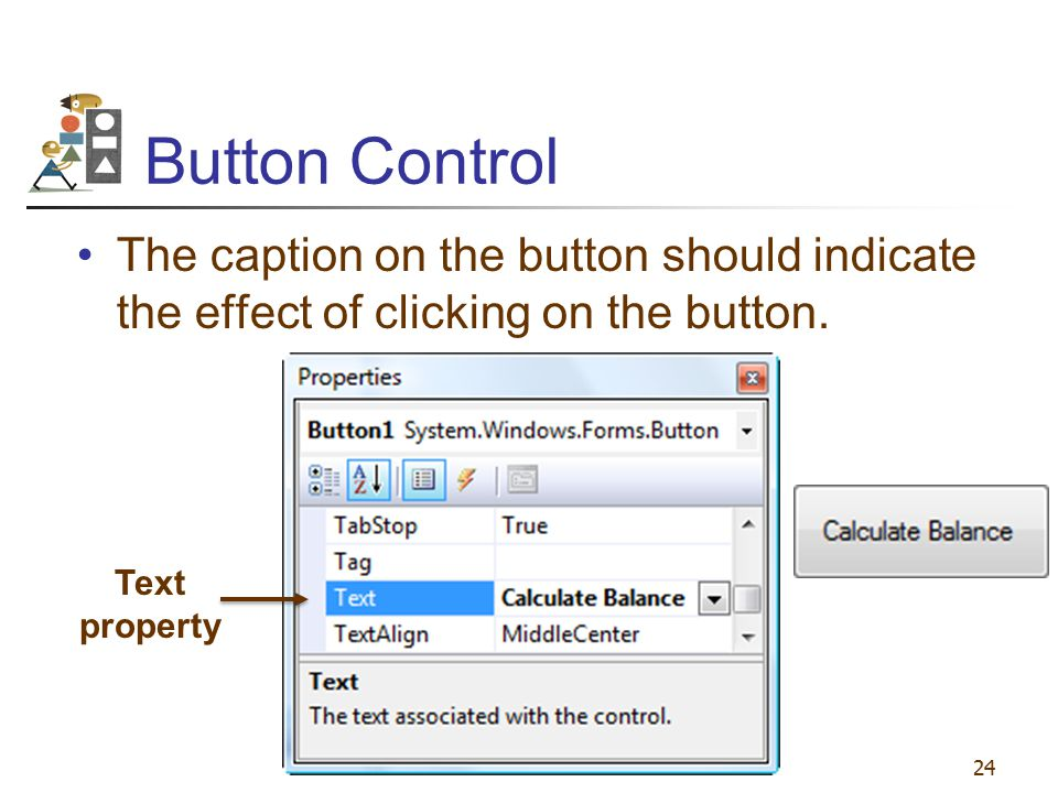 Button Control The caption on the button should indicate the effect of clicking on the button.