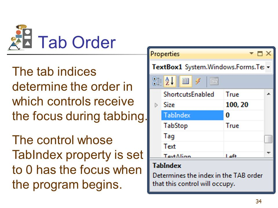 Tab Order The tab indices determine the order in which controls receive the focus during tabbing.