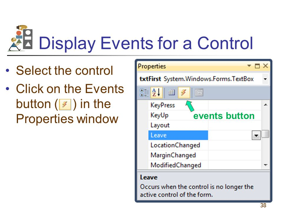 Display Events for a Control