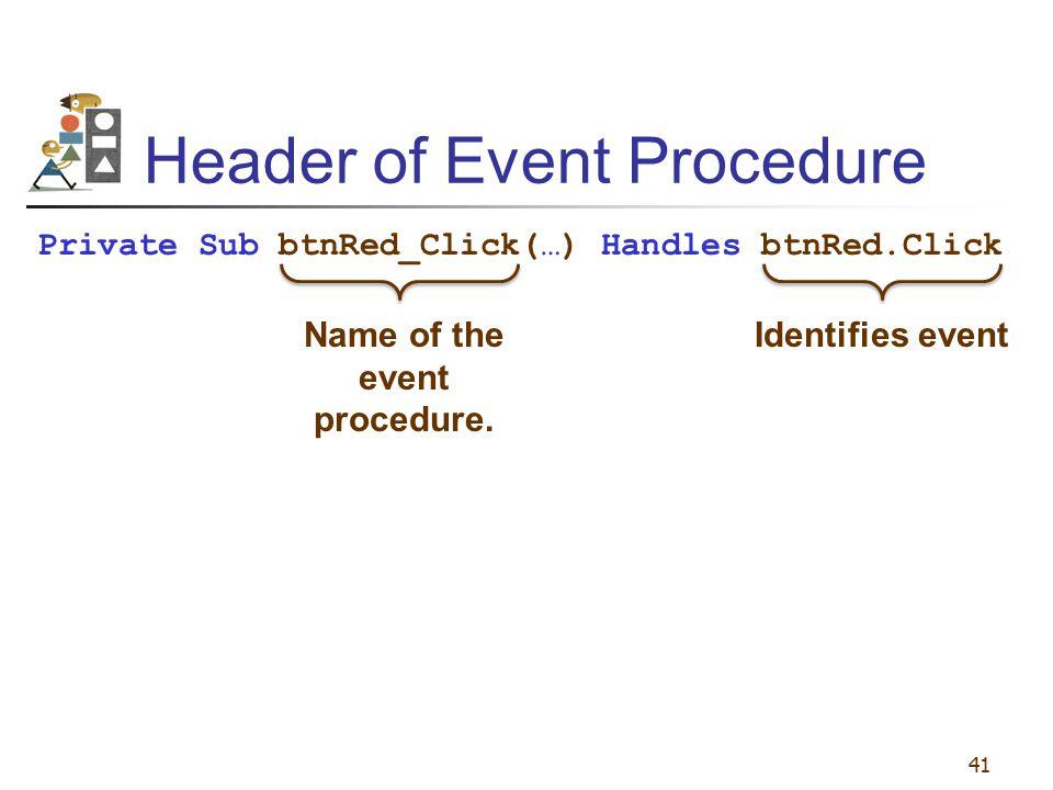 Header of Event Procedure