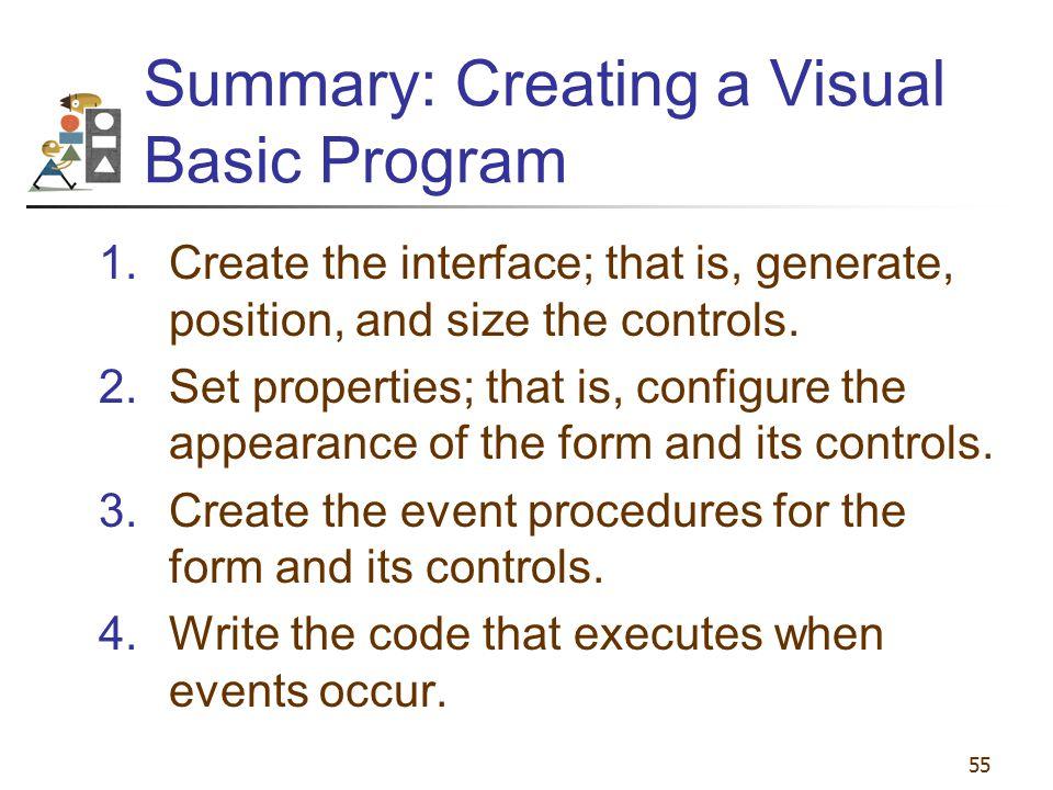 Summary: Creating a Visual Basic Program