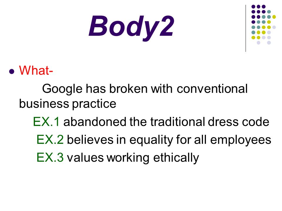 Body2 What- EX.2 believes in equality for all employees