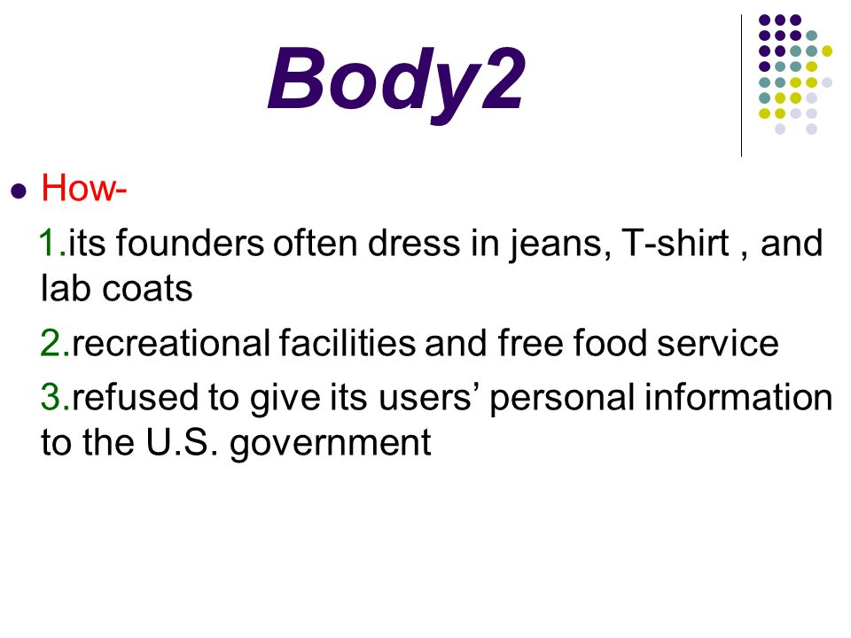 Body2 How- 2.recreational facilities and free food service