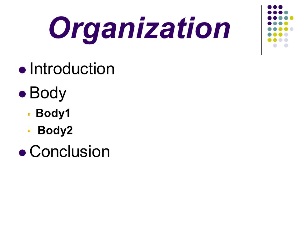 Organization Introduction Body Body1 Body2 Conclusion